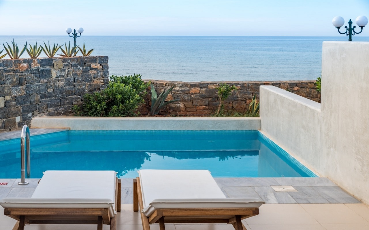 private terrace with a Swim-Up pool including sun loungers & a parasol - outdoor furniture